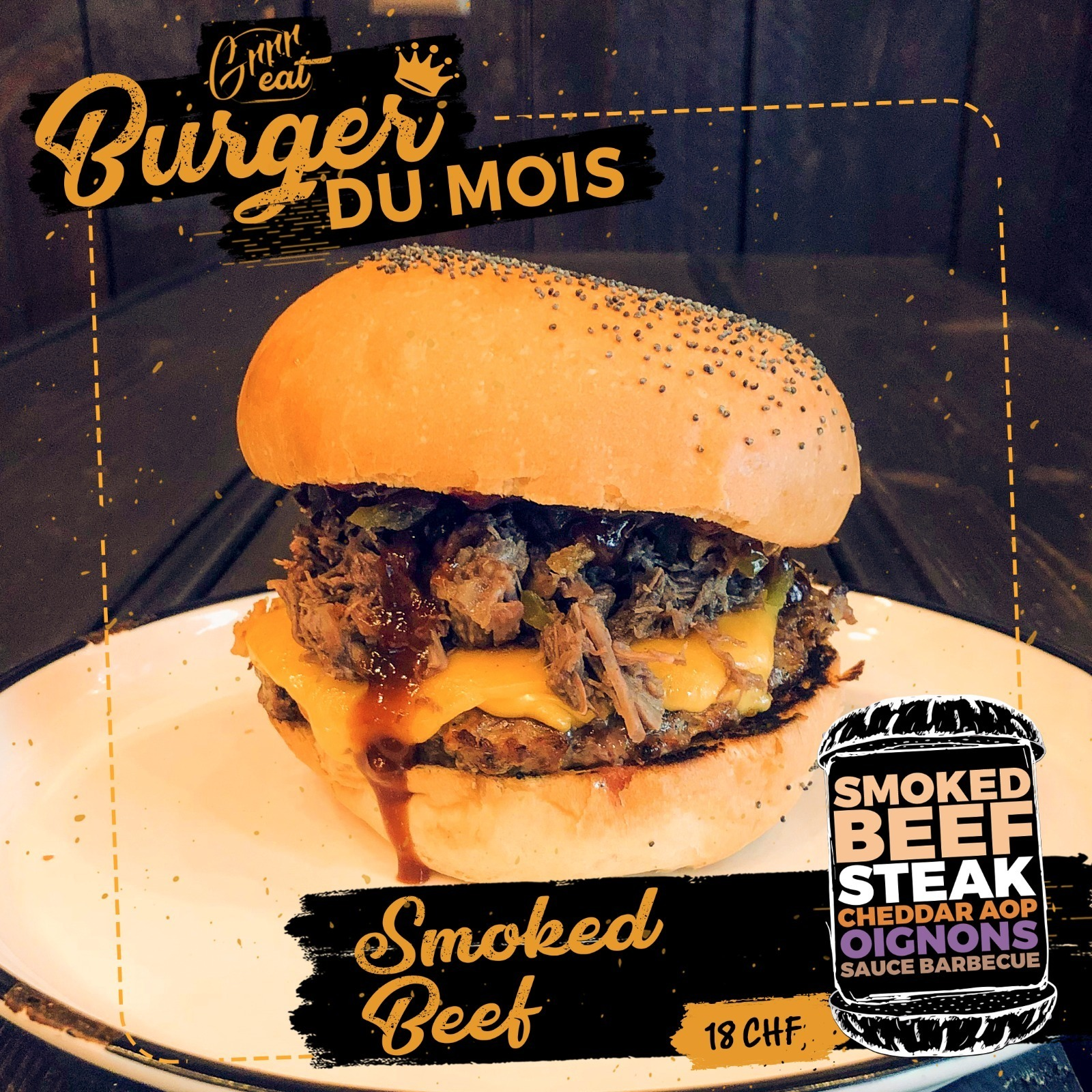 Smoked beef burger